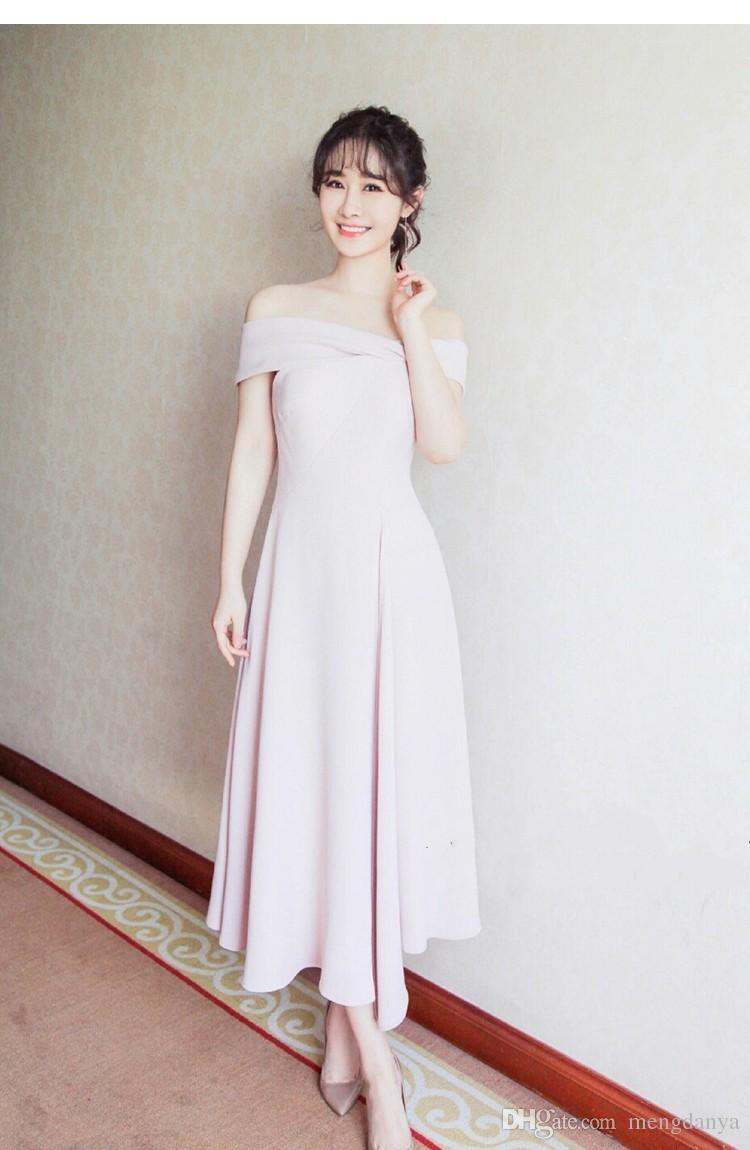 2019 Envío gratis Delicado vestido de dama de honor de Charmeuse con capucha, una línea de té, m73