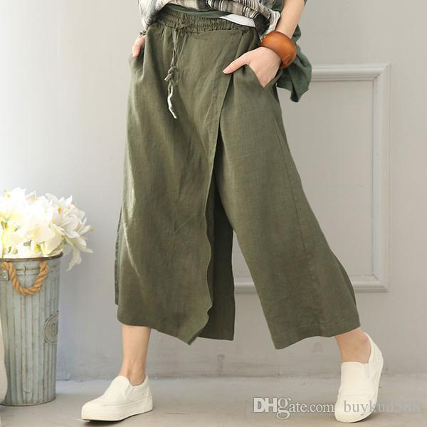 casual shoes buy popular special discount of 2019 Women Cotton Linen Wide Leg Pants From Buykud588, $55.28 | DHgate.Com