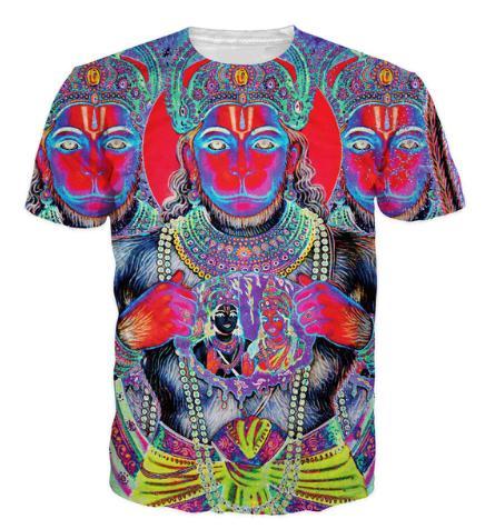 Arte pop representación del medio hombre dios hindú Hanuman camiseta de los hombres de las mujeres 3d? Camiseta ocasional de la ropa de moda del verano del estilo de las camisetas S-XXXXL U540