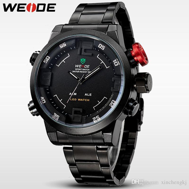 Relojes de acero de los hombres original de la marca de WEIDE WH2309 inoxidable Reloj Digital se divierte el reloj de cuarzo Militar llevó relojes Relogio