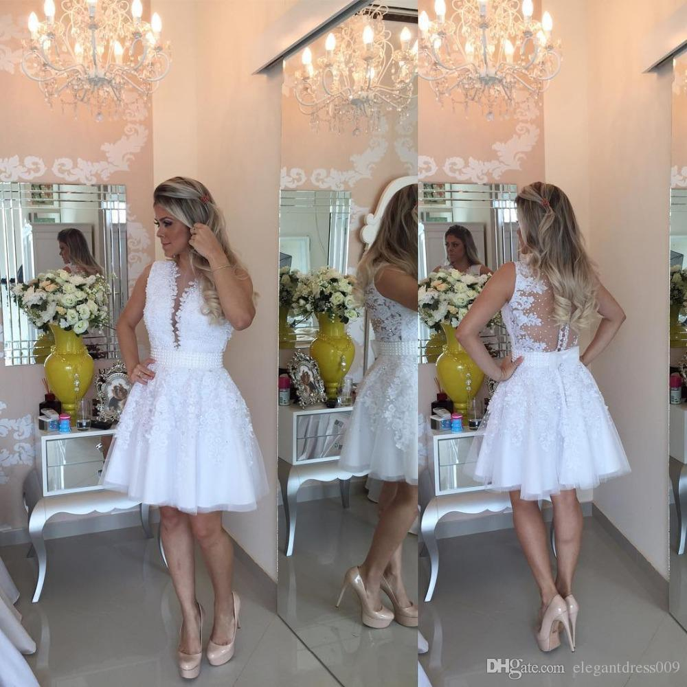 White Lace 2018 A Line Homecoming Dresses Deep V Neck Pearls Illusion Back Applique Pleats Ruffles Cocktail Party Gowns Short Prom Dresses