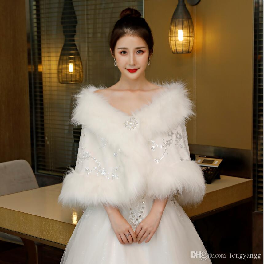جذاب طويل الفراء الزفاف سترة الزفاف مع الترتر قبالة الملحقات التفاف الكتف الزفاف لفستان الزفاف