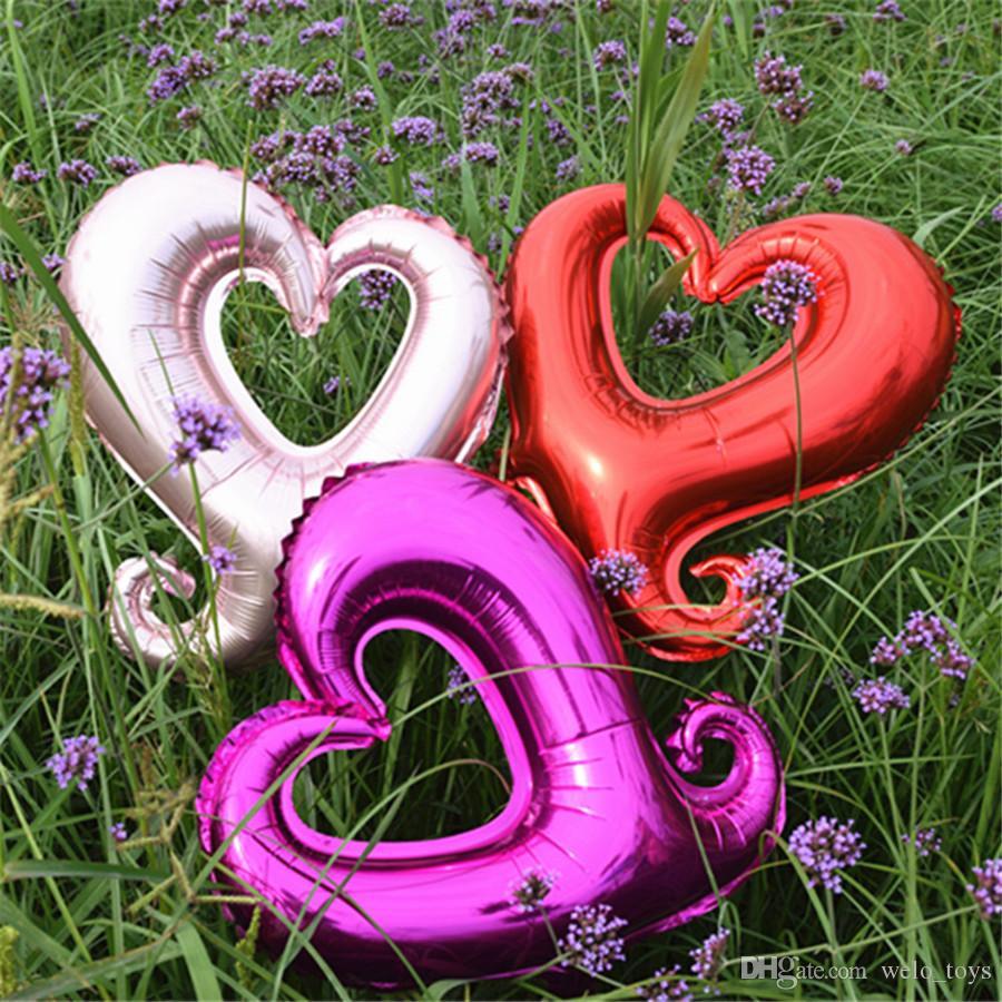 """18"""" крюк в форме сердца фольгированные шары свадьба брак украшение комнаты воздушный шар любовь партии алюминиевые баллоны 7 цветов 50 шт."""