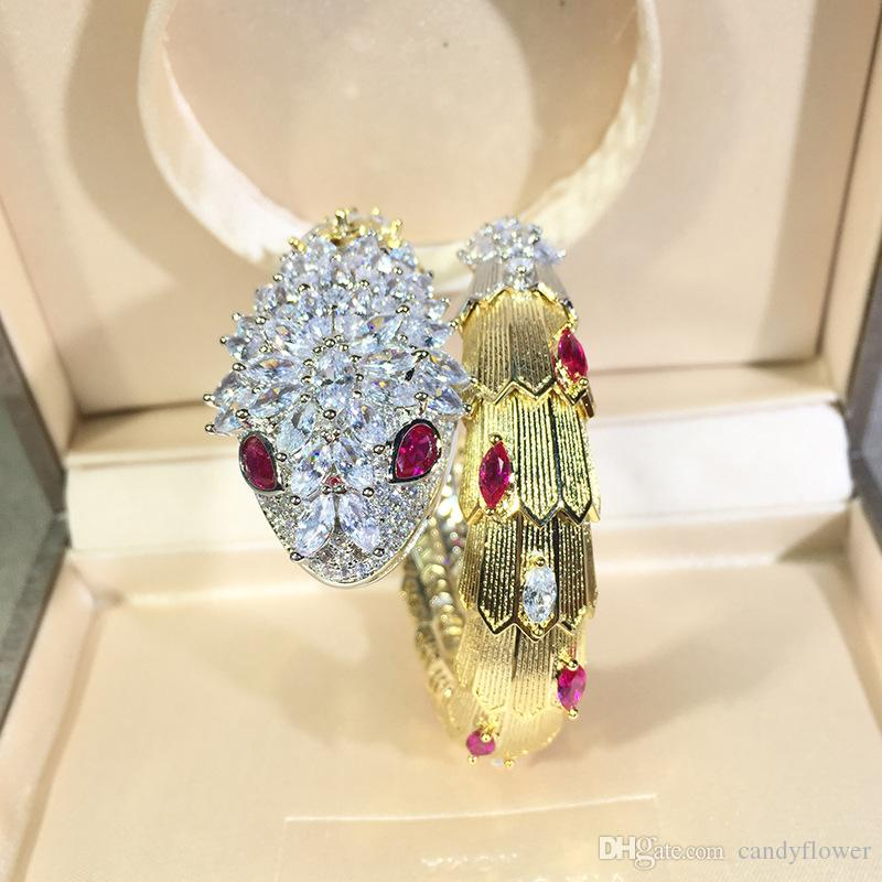 Nouveau designer de haute qualité serpent rouge / vert CZ diamant pavé bracelet de manchette des animaux bracelet 18k plaqué or PUNK bijoux pour femmes