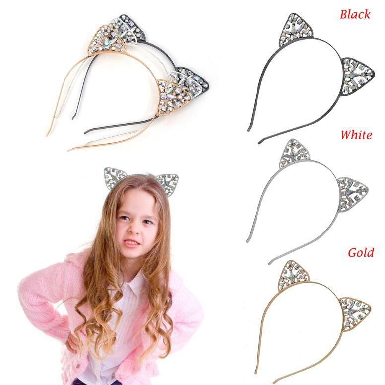 Kadın Kızlar Saç Çember Glitter Kristal Metal Rhinestone Kedi Kulak Bandı Hairband Kostüm Partisi Giydirme Hairbands