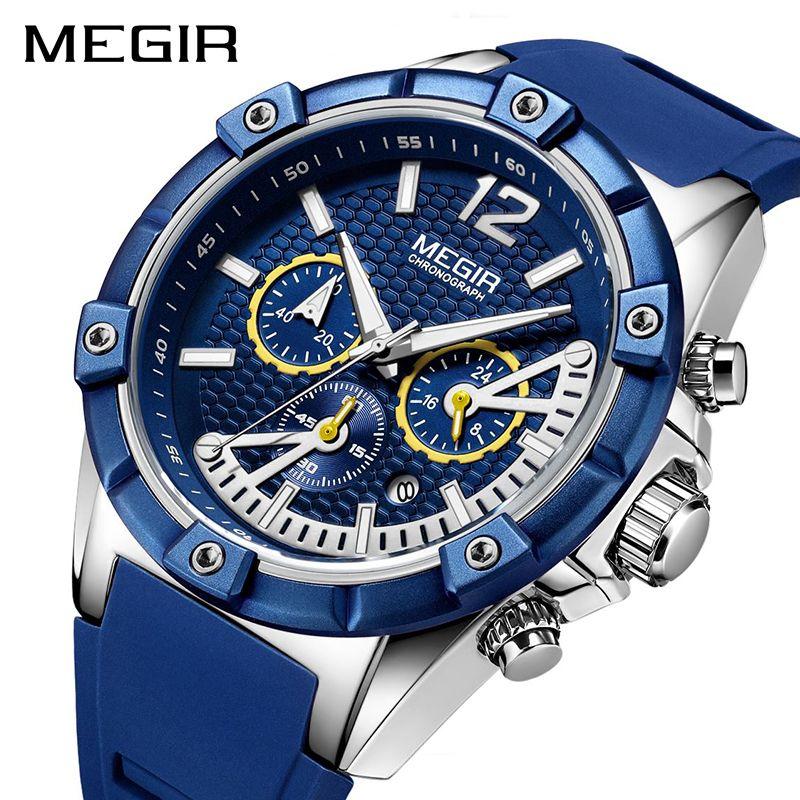 MEGIR Chronographe Sport Hommes Montre Silicone Creative Quartz Montres Hommes Horloge Heure Armée Montres Relogio Masculino
