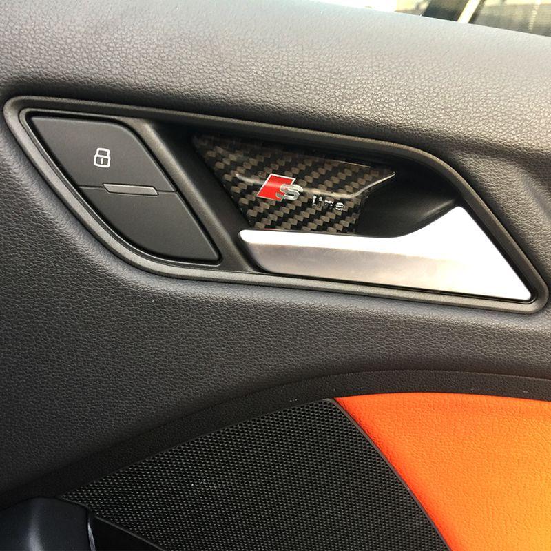 سيارة التصميم ألياف الكربون الداخلية الباب داخل عاء الباب لوحة ملصقات غطاء المعصم تقليم لأودي a3 a4 a5 a6 q7 q5 q7 b6 الملحقات