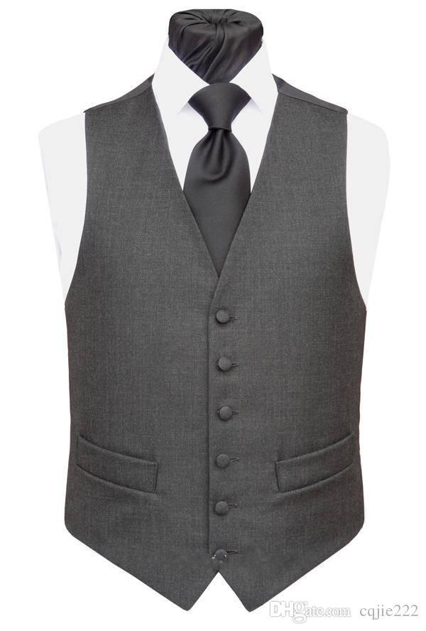 2019 جديد مخصص الرجال الفحم الرسمي صدرية جديد وصول موضة العريس سترات عادية سليم صالح الصدرية 624