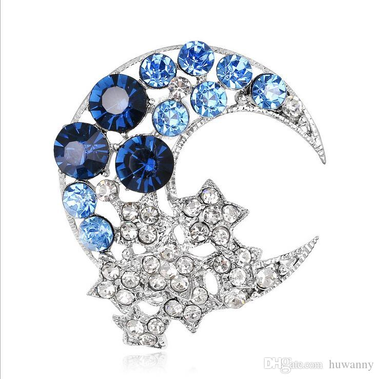 Crysal القمر دبابيس الساخن بيع شخصية جميلة Booch دبوس لحزب فضة الأزياء والمجوهرات بالجملة شحن مجاني 0753WH