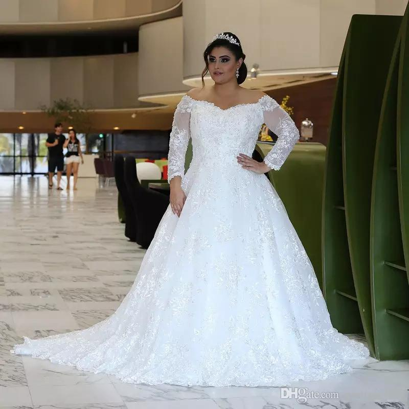 Discount Long Sleeves Lace Wedding Dresses Plus Size With Beaded Appliques  Off Shoulder Sweep Train Tulled A Line Wedding Bridal Gowns A Line Dresses  ...