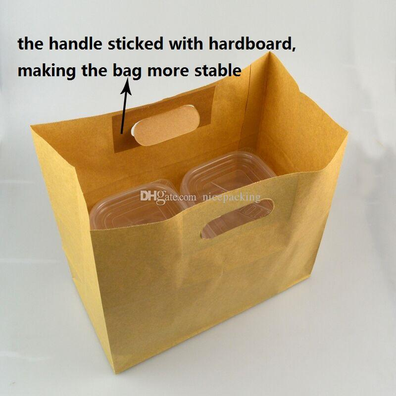 kraft paper bag with oval-shapped handle for cake/candy/clothes/take away food/picnic/gift packing 50pcs/lot free shipping by DHL