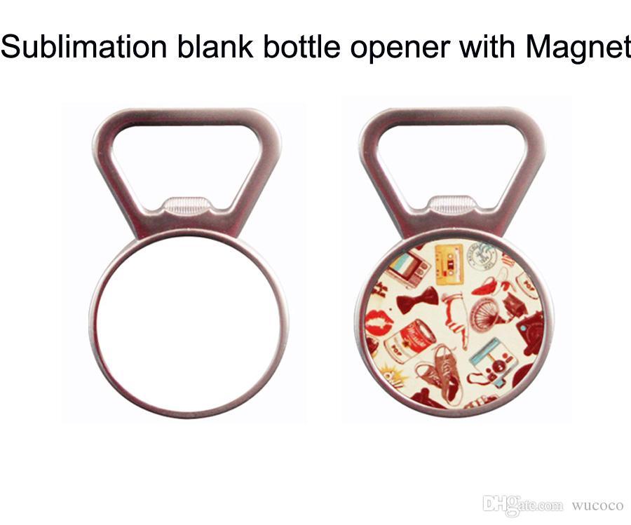 abridor de garrafas com imã de geladeira + placa de alumínio em sublimação em branco 10 pçs / lote