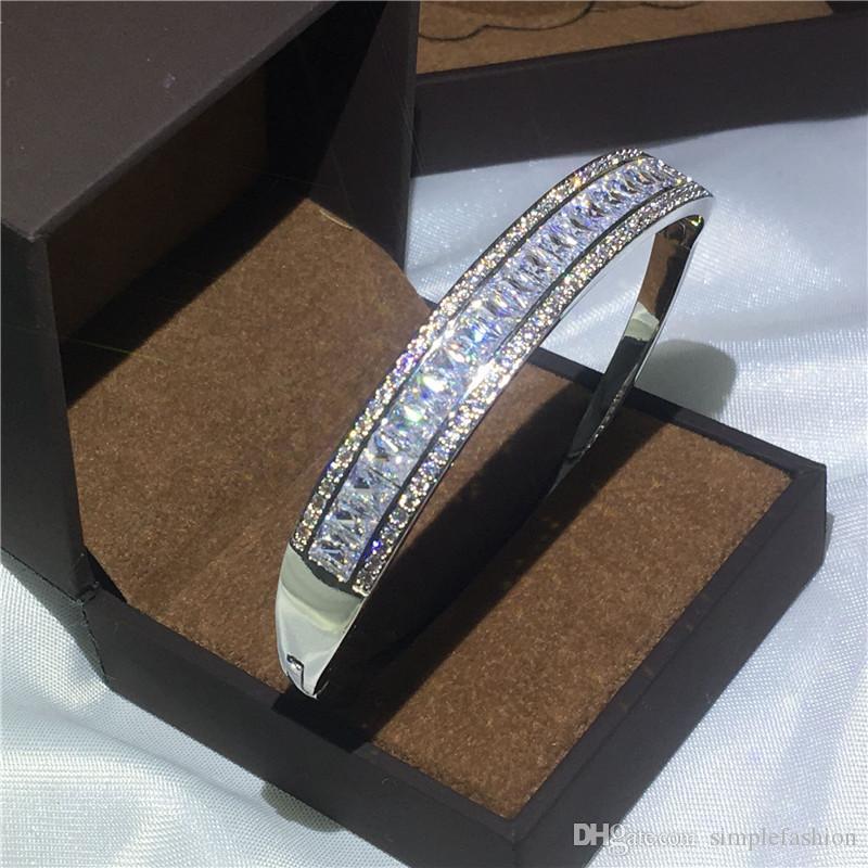 Vecalon Romantic princess cut 5A cubic zirconia Baguette bracelet wedding bangle White Gold Filled womens accessaries Jewelry