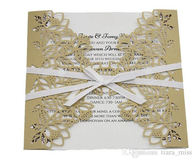 2018 Wedding Invitations Laser Cut Customizable Hollow Crystal Lace Bow Ribbon Wedding Invitation Cards free shipping