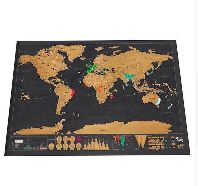 Deluxe Effacer Noir Carte Du Monde Gratter Carte Du Monde Personnalisé Grattez Voyage pour Carte de La Maison Décoration Stickers Muraux