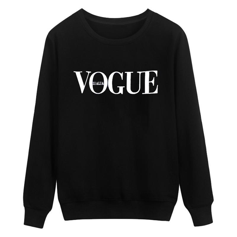 2017 Vêtements d'été Hauts Mode pour femmes VOGUE Lettre Imprimé Harajuku Sweat à capuche rouge noir Camisas femme Sweat à capuche