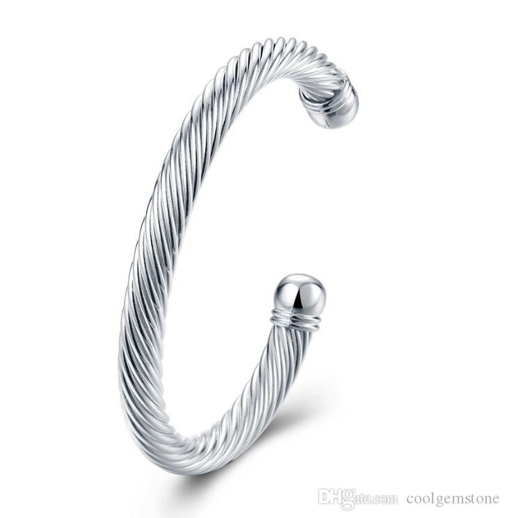 Luckyshine 6Pcs Holiday Gift Shiny Antique Pure 925 Sterling Silver Open Adjustable Bracelets Bangles Russia Bangles