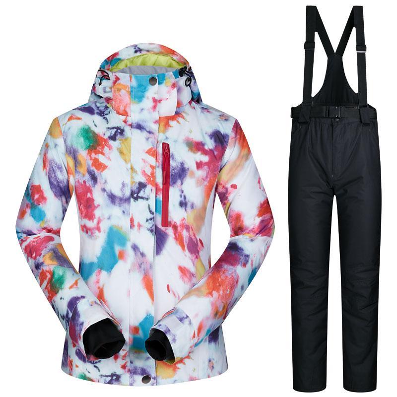 Dropshipping impermeable Sportwear femenino invierno desgaste del esquí Top con capucha chaqueta pantalones de correa Chaqueta de nieve y pantalones mujeres traje de esquí