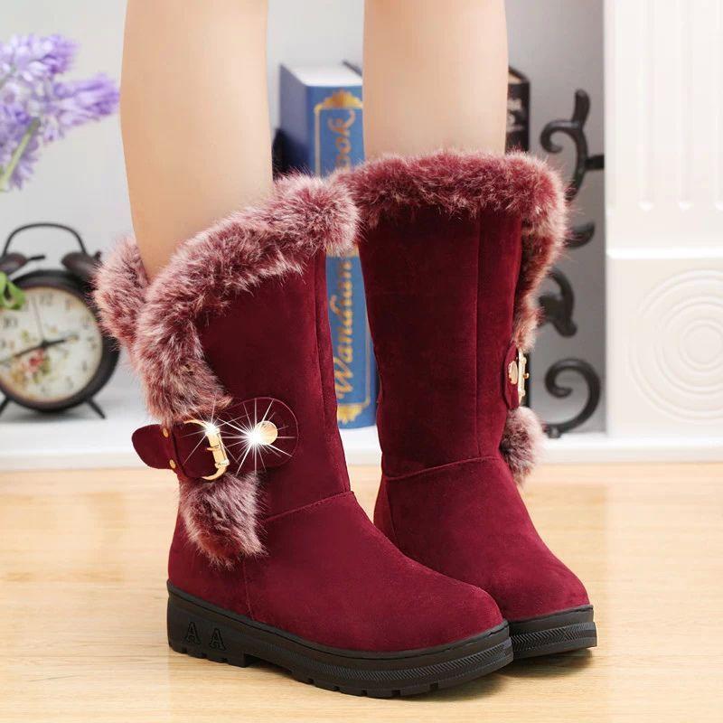 Winter warme Pelz Mitte-Kalb Stiefel für Frauen Schneeschuhe Rund-Zehe-Slip auf Flock Gummi Schnee Stiefel Damen zx674