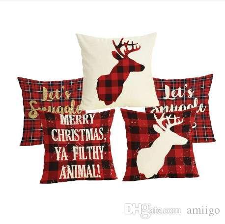 Comwarm Noël Lettre Plaid Motif Taie d'oreiller Lin Coton Cerf Rouge Couleur À Manger Chaise Oreiller Couverture Pour Dormir Voyager
