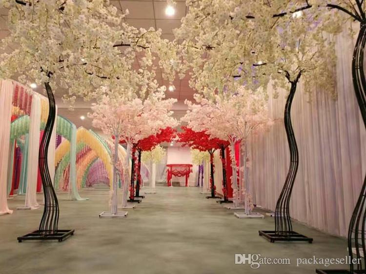 2.6m Altura Blanco Flor de cerezo artificial Tree Road Simulación Flor de cerezo con marco de arco de hierro para accesorios de boda