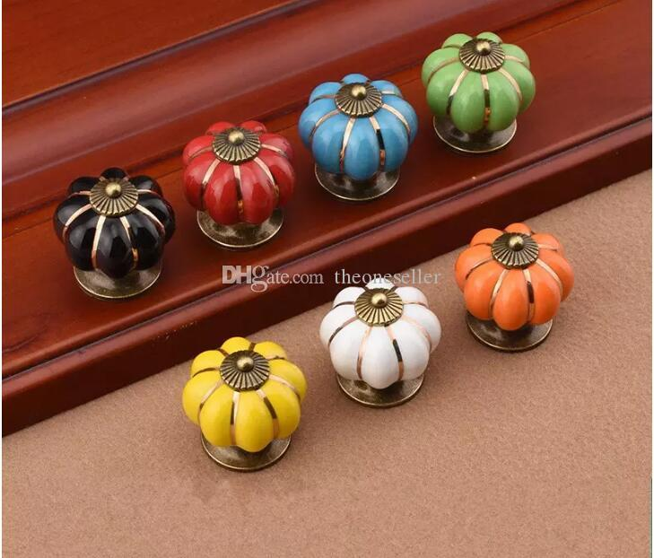 2dr Rainbow Ceramics Door Handles Pumpkin Cartoon Doorknobs For Cupboard Drawer Rural Pull Handle Modern Simple Factory Direct Sales