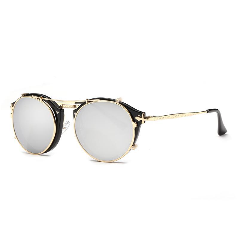 2018 Nowy Punk Style Kobiety Mężczyźni Okulary Moda Metalowa Rama Mężczyźni Okrągłe Czarne Obiektyw Vintage Okulary UV400