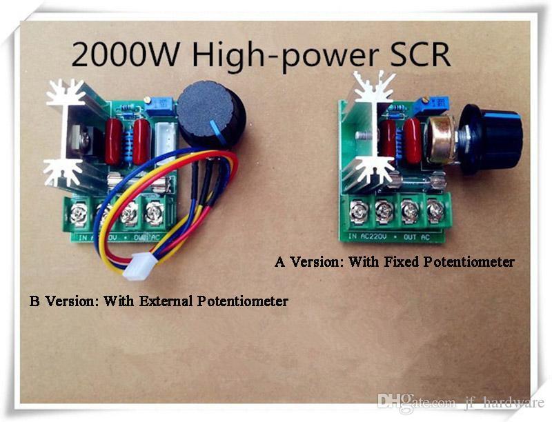 High Power elektronische Spannungs-Regler 2000W Einstellbare Dimming Dimmer für Lampen Geschwindigkeit Spannung Temperaturregelung mit Sicherung