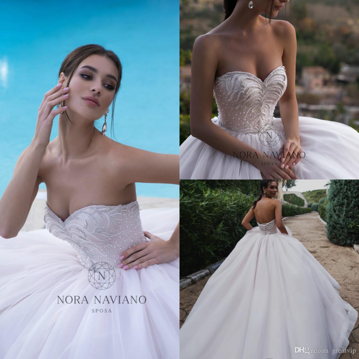 Nora Naviano 2019 Wedding Dresses Sweetheart Backless Bridal Ball Gown Lace Applique Beaded Plus Size Wedding Dress Robe De Mariée