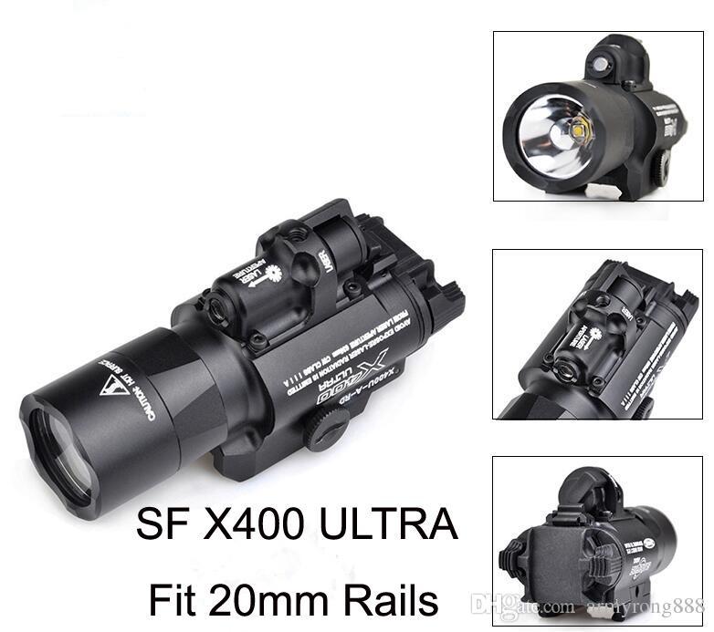전술 SF X400 크리 울트라 높은 출력 LED 권총 M4 소총 손전등 빨간 점 레이저 콤보 시력 20mm Picatinny 레일 마운트
