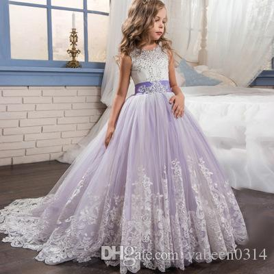 In stock new hot girl lace embroidery party dress / explosion models girls lace graduation dress / into the store to choose more styles