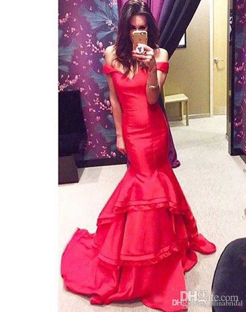 2018 eleganti abiti da sera formale rosso al largo della sirena partito prom abiti profondi scollo a V sexy abiti da sera formale per le donne formale