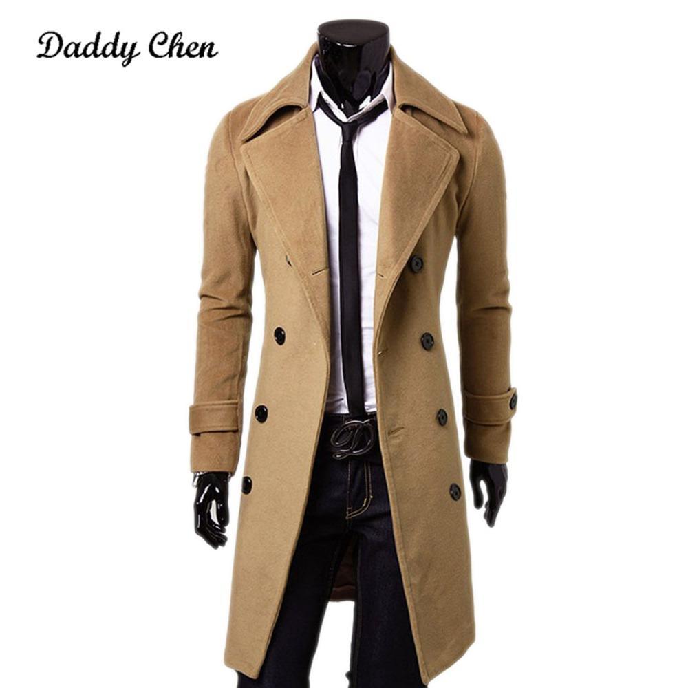 M-3XL Plus Size Outono Inverno Homens Trench Coat Marca de Roupas de Alta Qualidade Moda Longo Mens Jaqueta Casaco de Algodão Macho Sobretudo