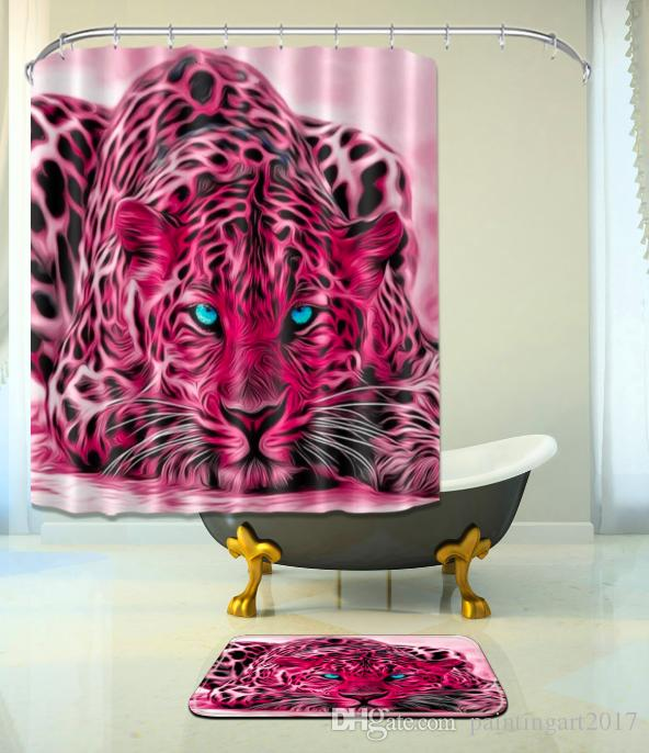 홈 3D 빨간 호랑이 방수 샤워 커튼 후크와 욕실 커튼 고품질 목욕 목욕 바닥 매트 홈 장식에 대 한 설정