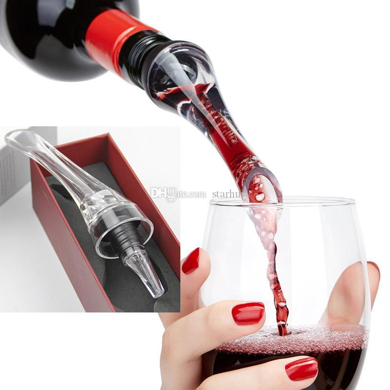 جديد النبيذ المدفق مهوية النبيذ الاحمر إشباع المدفق مصغرة ماجيك الأحمر زجاجة النبيذ الدورق الاكريليك تصفية أدوات مع مربع التجزئة dhl شحن WX9-245