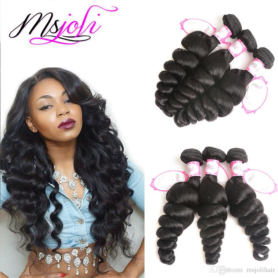 9A Mongolian virgin human hair weave loose wave natural color 4x4 lace closure with three bundles and three parts from Ms Joli