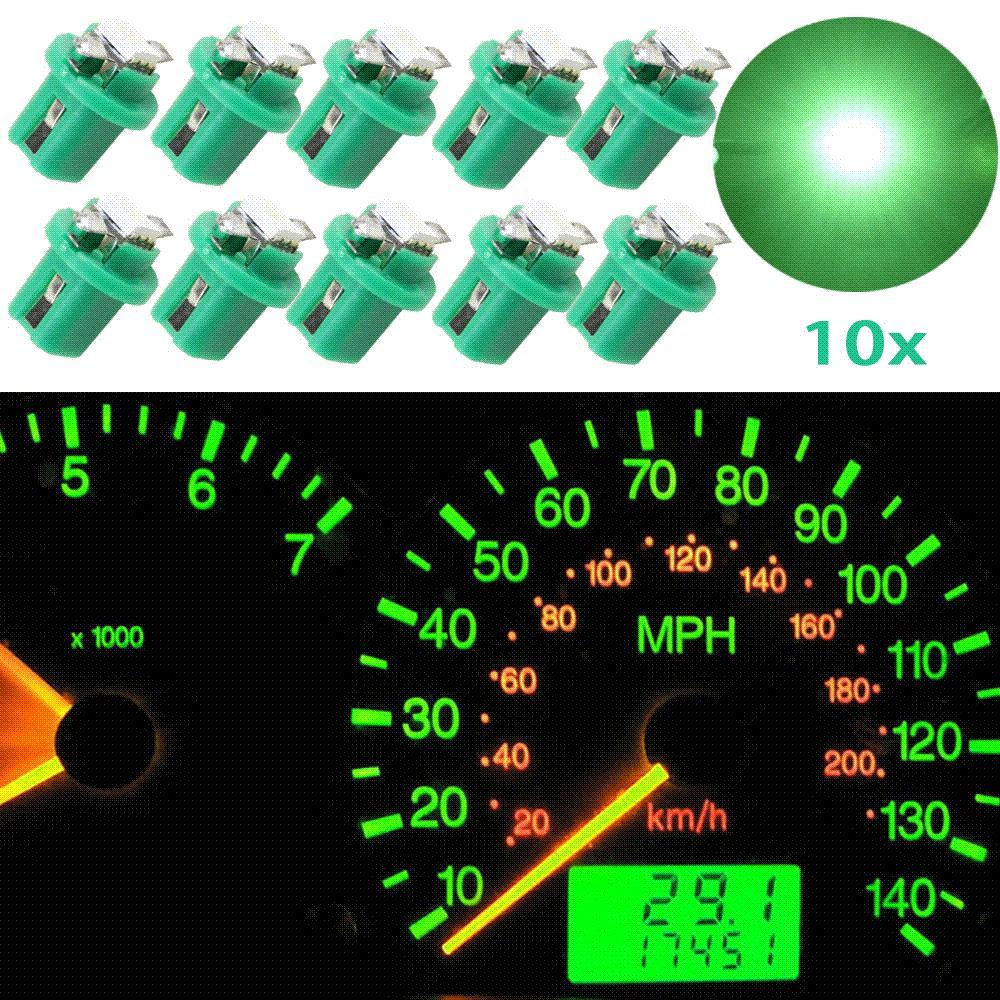 10pcs 녹색 B8.5D 509T B8.5 5050 주도 1 SMD T5 램프 자동 웨지 차 계기 대시 벌브 대시 보드 악기 빛 12V 자동차 스타일링