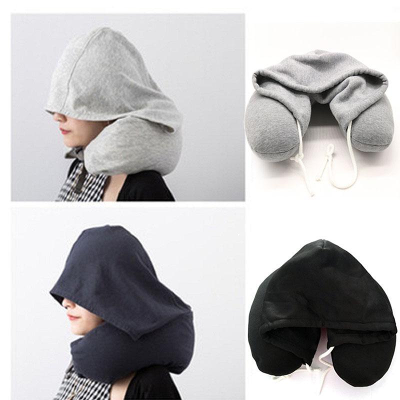 Suave con capucha en forma de U almohada cuello almohada Sólida gris Nap Algodón Partícula almohada Textil Inicio Avión Accesorios de viaje en coche