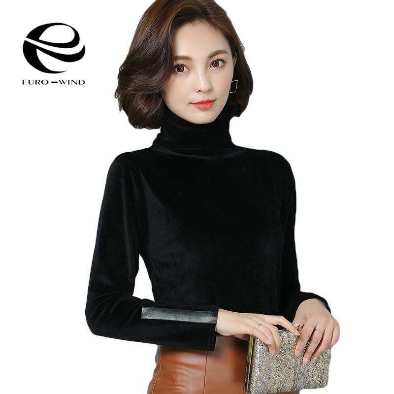 Rrive Women Turtleneck Solid Long Sleeve Velvet Top Blouse T-Shirt