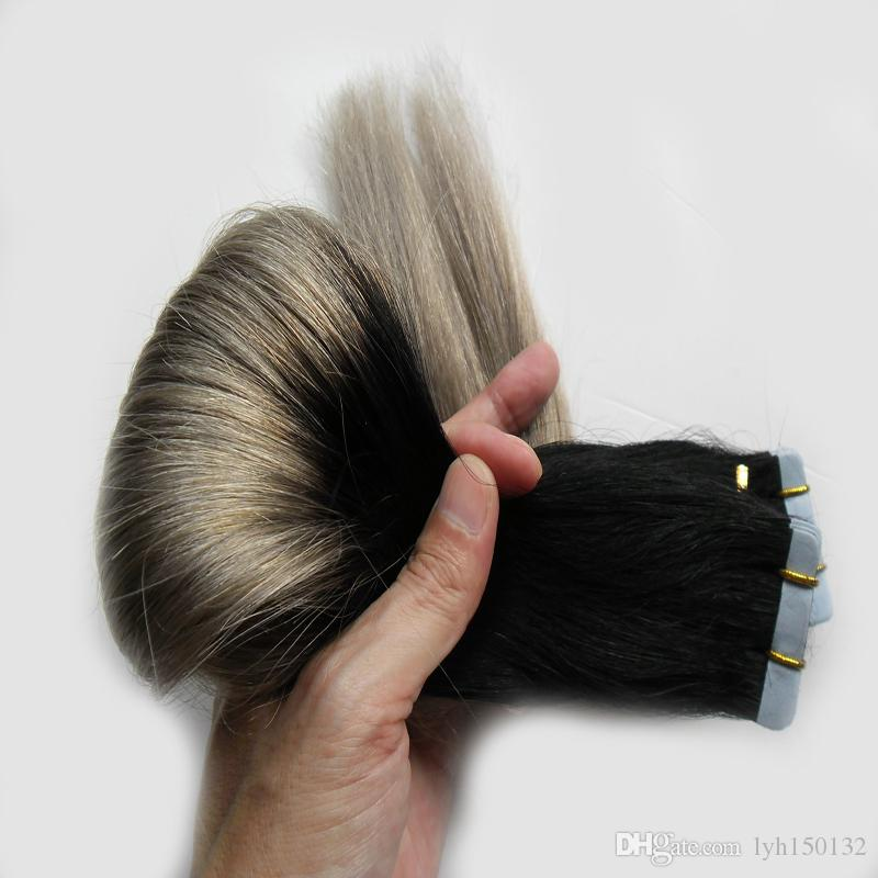 8А 1B / Серый Двухцветный Лента Человеческих Волос Наращивание Кожи Уток Лента Наращивание Волос 100 г Серебристо-Серый Наращивание Ленты Человеческих Волос