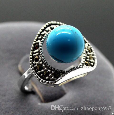 13X15MM старинные 6 мм синий бирюзовый марказит 925 стерлингового серебра кольцо размер 7 8 9