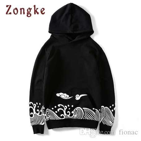 Zongke Japoński Harajuku Bluzy Mężczyźni Oversize Hip Hop Black Hoodie Mężczyźni Streetwear Mężczyzna Z Kapturem Bluza Mężczyźni Ubrania