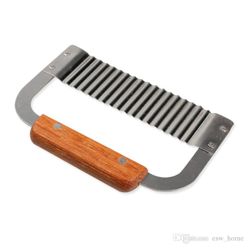 Mango de madera dura Crinkle Wax Vegetal Soap Cutter ondulado Slicer Acero inoxidable Kitchen Tools ondulado soap cortador