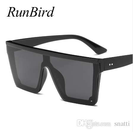 RunBird marca moda negro One Piece gafas de sol hombres de gran tamaño conducción Cool Sun Glasses Square Male Gafas Gafas Eyewear 5121R