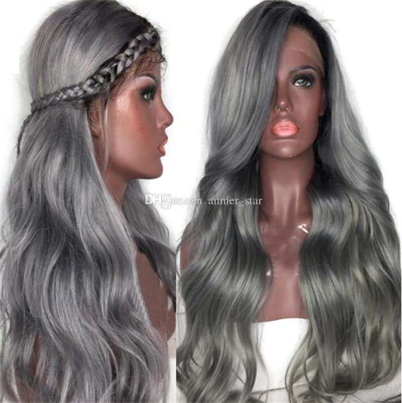 Fashion Ombre Brazilian Human Hair 1B Gray Loose Wave Virgin Human Hair Full Lace Wig for Black Free Shipping