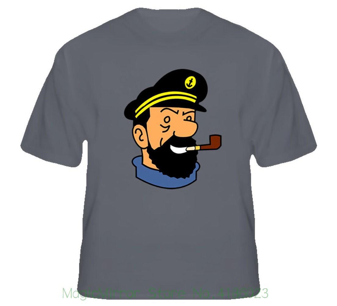 Capitão Haddock Tintin Comic T Shirt Dos Desenhos Animados T-shirt Novidade Legal Tops dos homens de Manga Curta Tshirt
