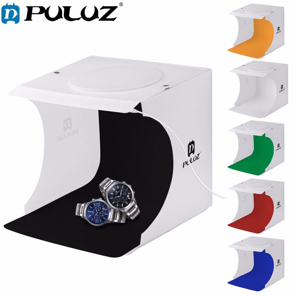 PULUZ 20 * 20CM 8 صغيرة قابلة للطي ستوديو منتشر لينة صندوق صندوق مع LED ضوء أسود أبيض التصوير خلفية مربع استوديو الصور