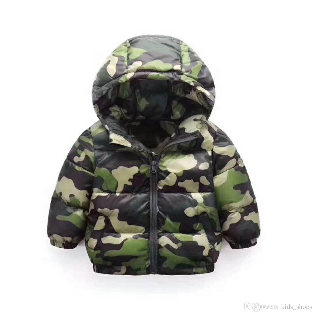 Children's down cotton girl 2018 new camouflage cotton boy lightweight cotton jacket baby winter clothing
