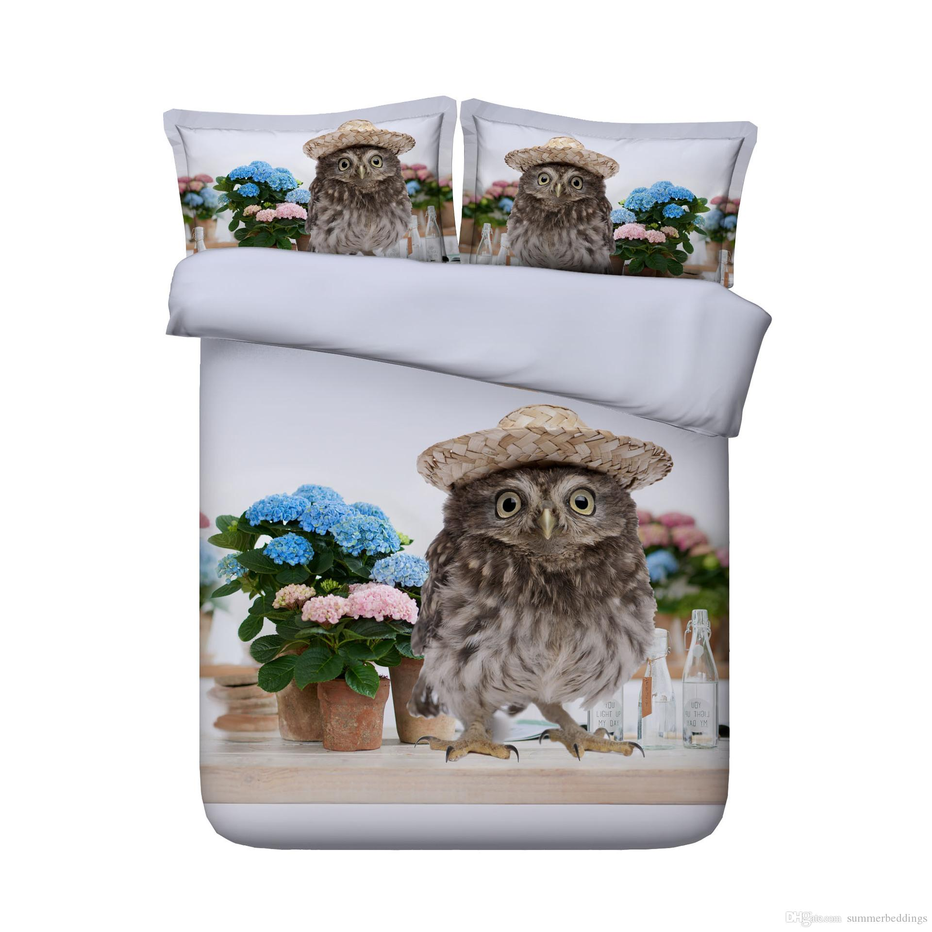 3D Owl Duvet Cover Flamingo Bedding Sets Bedspreads Holiday Quilt Covers Bed Linen Pillow Covers California King ocean beach theme horse