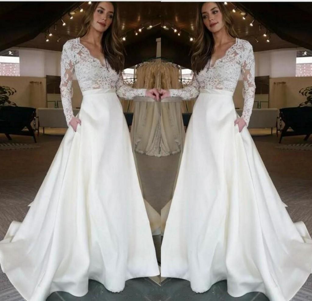 V neck moda vestidos de noiva longo com ilusão mangas compridas rendas ver através de saia superior com bolsos designer de uma linha de vestido de noiva 224